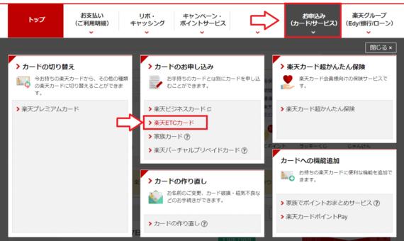 楽天ETCカードの追加申し込み方法と注意点1